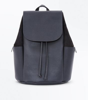 Black Suedette Side Drawstring Backpack