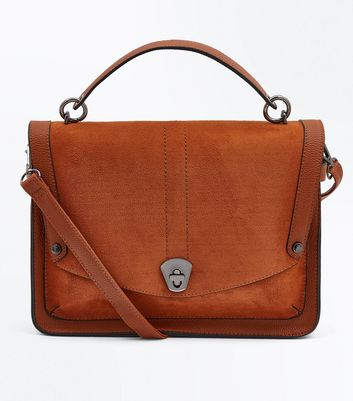 Tan Suedette Shoulder Strap Satchel Bag