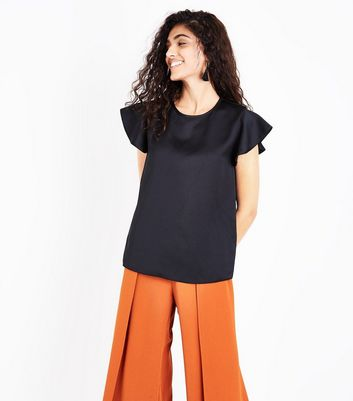 Black Sateen Front Frill Sleeve Top