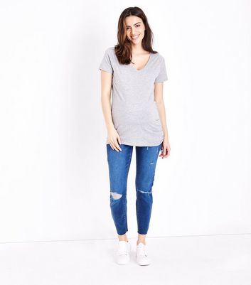 Maternity Blue Ripped Under Bump Skinny Jeans