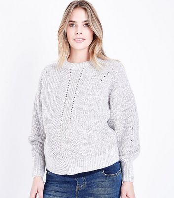 Maternity Grey Pointelle Knit Lace Up Back Jumper