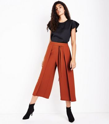 Rust Layered Tie Front Cropped Trousers