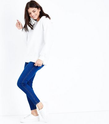 Bright Blue Notch Hem Skinny Jenna Jeans