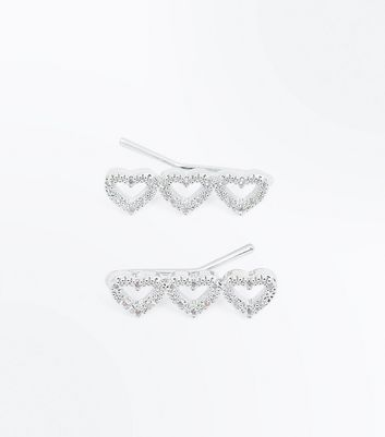 Silver Cubic Zirconia Hair Slides