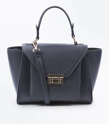 Black Top Handle Winged Tote Bag
