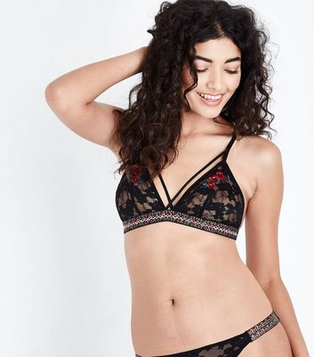 Black Lace Floral Embroidered Bralette