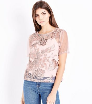 Pink Sequin Embroidered Mesh Puff Sleeve Top
