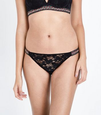 Black Lace Floral Embroidered Briefs
