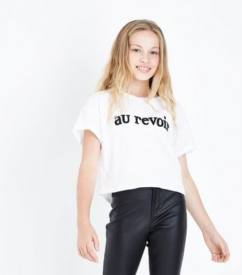 Teens White Au Revoir Slogan T-Shirt