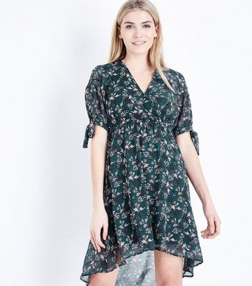 Green Floral Print Dip Hem Mini Dress