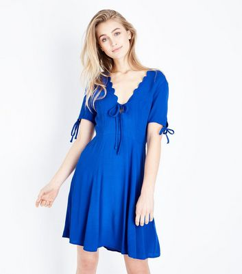 Blue Scallop V Neck Tea Dress