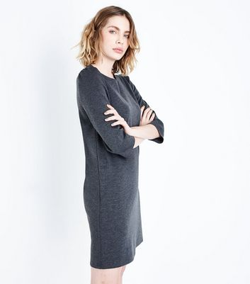 Grey Puff Sleeve Jersey Tunic Dress
