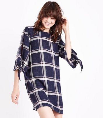 Blue Check Tie Sleeve Tunic Dress