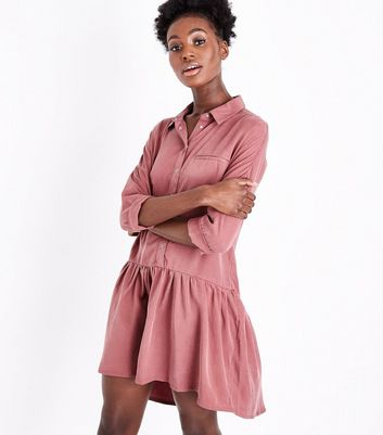 Pink Drop Waist Shirt Dress