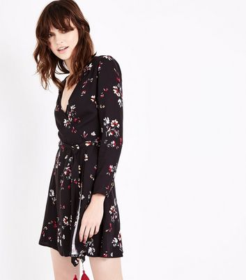 Black Floral Tassel Trim Wrap Dress