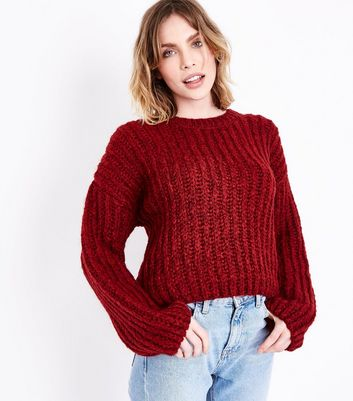 Red Deep Ribbed Jumper