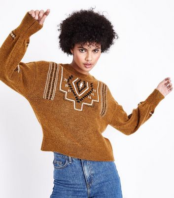 Brown Aztec Embroidered Balloon Sleeve Jumper