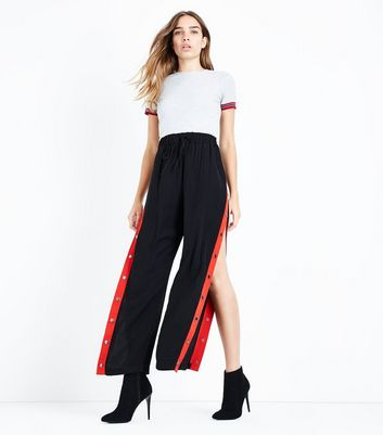 Black Popper Side Stripe Trousers