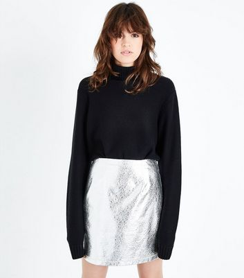 Silver Crackle Leather-Look Mini Skirt