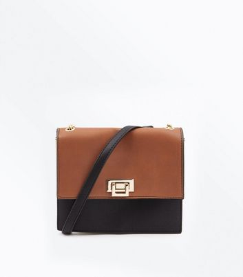 Brown Colour Block Chain Shoulder Bag