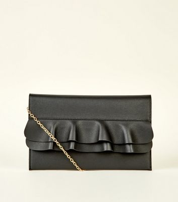 Black Frill Front Flat Clutch Bag