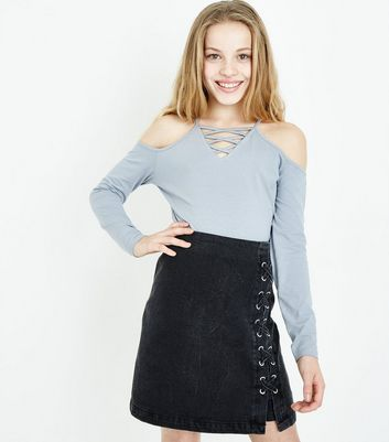 Teens Pale Blue Lattice Front Cold Shoulder Top