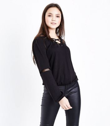 Teens Black Long Sleeve Ladder Insert Top