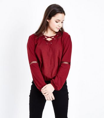 Teens Burgundy Ladder Insert Sleeve Top