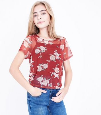 Teens Red Floral Box Mesh T-shirt