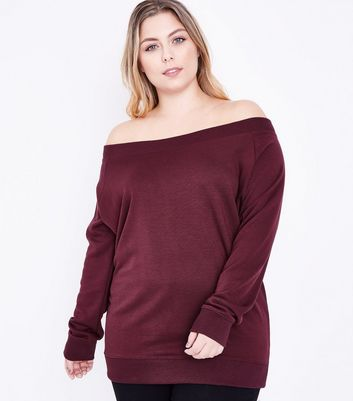 Curves Burgundy Bardot Neck Sweatshirt