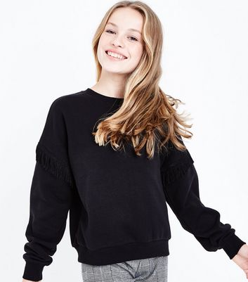 Teens Black Tassel Trim Sweatshirt