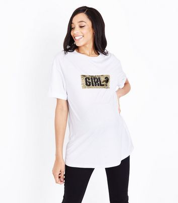 Maternity White Boy/Girl 2 Way Sequin T-Shirt