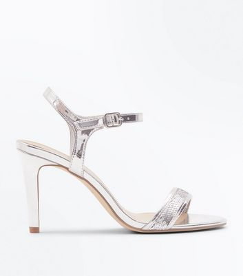 Wide Fit Silver Metallic Sequin Strap Sandals
