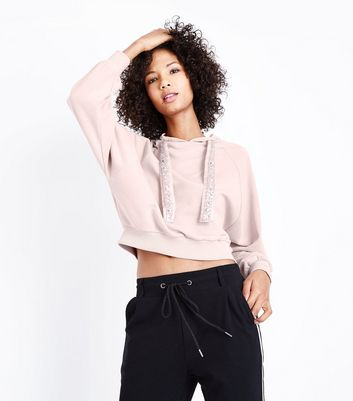 Shell Pink Embellished Toggle Crop Hoodie
