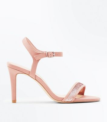 Wide Fit Rose Gold Satin Sequin Strap Sandals