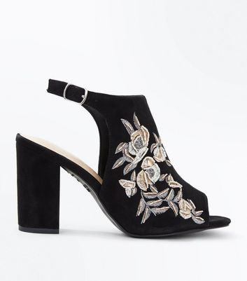 Wide Fit Black Comfort Flex Suedette Floral Embroidered Heels