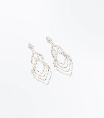 Silver Crystal Embellished Loop Chandelier Earrings
