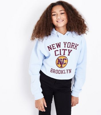 Teens Pale Blue New York Print Hoodie