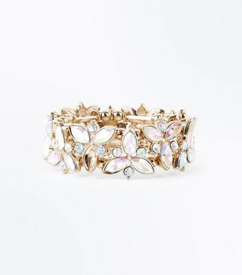 Gold Iridescent Gem Floral Stretch Bracelet