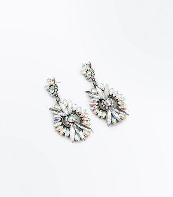 Silver Iridescent Gem Embellished Chandelier Earrings