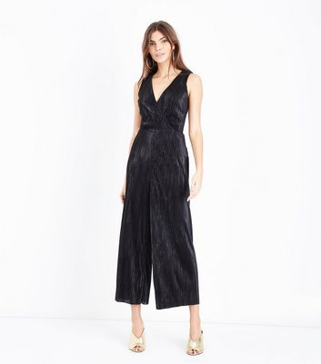Tall Black Metallic Stripe Plisse Culotte Jumpsuit