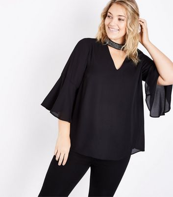 Curves Black Beaded Choker Neck Flare Sleeve Top