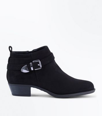 Teens Black Suedette Buckle Trim Boots