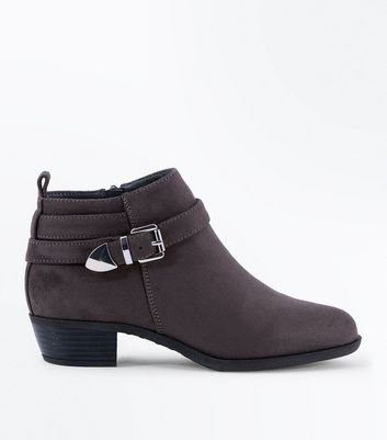 Teens Grey Suedette Buckle Trim Boots