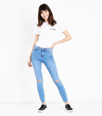 Bright Blue Distressed Hem Skinny Jenna Jeans