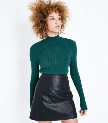 Dark Green Ribbed Scallop High Neck Jumper