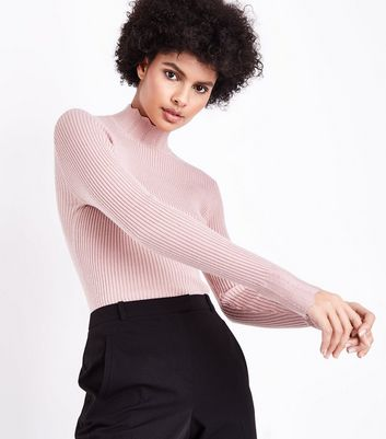 Pink Ribbed Scallop High Neck Jumper