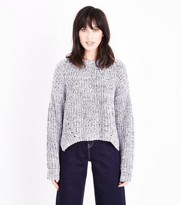 Blue Twist Yarn Pointelle Jumper