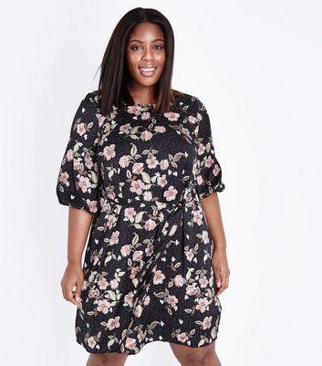 Curves Black Floral Spot Print Tunic Dress