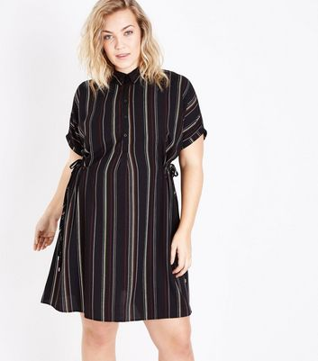 Curves Black Stripe Toggle Waist Shirt Dress